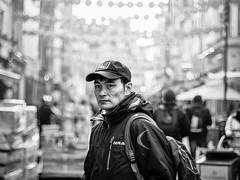 Dare 2 B (Neil Nicklin Photography) Tags: street man male men photography mono candid thesouth blacknwhite candidman londonstreet streetphotograhy streetsoflondon chintown sohostreet candidstreet chinatownstreet photographingthemale streetphotographylondon streetmono candidstreets