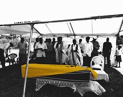 Final Words (// Ladwar Photography //) Tags: africa family red people white black green loss photoshop sadness gold design intense emotion african background sony traditional casket cybershot east clothes funeral fabric motorcycle uganda sorrow colormanipulation acholi
