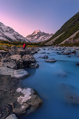 Majestic Aoraki From Hooker River (Arief Rasa) Tags: mountain rock river stream snowtip rapid sunsetsunrise mountcook aoraki mountainrange hookervalley mountcooknationalpark snowpeak hookerriver