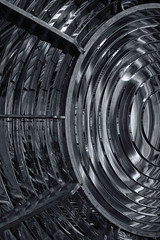 Retired Beacon (artmadrigal) Tags: light blackandwhite bw lighthouse abstract glass architecture lens pattern fresnel beacon pointarenalighthouse mendocinocounty californialighthouses pointarenalightstation