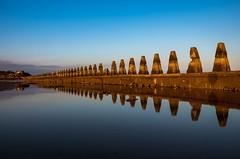 Reflexions&Blue sky (Dimitris&Ruze) Tags: uk blue sea beach nature azul scotland edinburgh pentax britain outdoor shoreline escocia obelisks puddles reflexions reflejos cramond cramondisland waterreflexions
