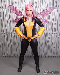 x-men pixie 05 (CE Photogenetix) Tags: pink portrait woman halloween beautiful beauty metal female silver comics studio fly flying costume wings comic cosplay flight pixie fairy xmen hero superhero fairey marvel catsuit select canon40d christinaedwards