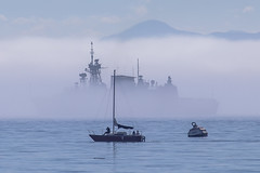 Ghost Ship (Paul Rioux) Tags: fog sailboat boat ship outdoor military navy vessel eerie victoria frigate naval royalroads ghostship canadianforces royalcanadiannavy hmcsottawa prioux