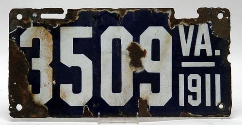 Virginia Porcelain License Plate - $253.00