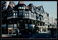 CHESTER. 3 (adriangeephotography) Tags: england people urban architecture buildings photography town nikon kodak slide adrian kodachrome gee vivitar nikkormat series1 3585mmf28 adriangeephotography