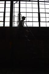 Yusif i. (miranda.valenti12) Tags: light sunset white black abandoned window hat silhouette high factory ladder yusif