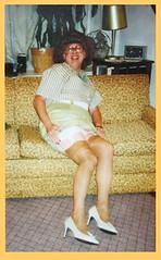 Casual Seating (emily_sheldon) Tags: transvestite upskirt heels crossdresser stockingtops garterssuspenders