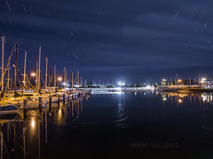 Hastings Marina (smjbk) Tags: longexposure sky night marina boats jetty australia victoria hastings startrails olympusinspired olympuslivecomp