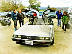 Hmm .. it's one of those .. Back to the Future Cars ..?   ~ a DeLorean DMC 12  * (John(cardwellpix)) Tags: uk corner sunday surrey april 12 guildford delorean 24th newlands dmc albury 2016 merrow