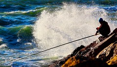 Fisherman - Hertzelia beach (Lior. L) Tags: sea beach canon israel fisherman mediterranean seascapes wave canondslr mediterraneansea crashing breakwater canon70200f4l hertzelia crashingwave hertzeliabeach canon600d canont3i canonkiss5 fishermanhertzeliabeach