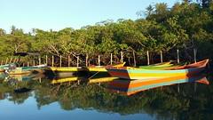 Carava s 6am (renataml) Tags: morning summer brazil latinamerica southamerica water sunshine rio brasil sunrise river boat am barco samsung bahia verano reflexo amanhecer nascerdosol americadosul verao carava caraiva suldabahia samsungs5mini