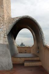 Casa Mil & Sagrada Familia (Rainbowfish7) Tags: barcelona spain espana gaudi casamil lapedrera