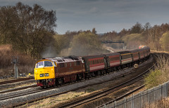 "Class 52 ""Western"" no D1015 ""Western Champion"" at Clay Cross (Tupton) on 10-04-2016 with the return leg of the ""Maybach Yorky"" Charter from York to Derby (kevaruka) Tags: bridge england people sun color colour heritage history colors sunshine station yellow composition train canon eos flickr day colours tour diesel outdoor derbyshire traction rail railway sunny trains front class historic retro telephoto page western april 5d british locomotive network yorky chesterfield charter 52 hydraulic maybach the 400mm mk3 2016 d1015 tapton ef100400 f4556l claycross tupton 5d3 5diii thephotographyblog 10042016"