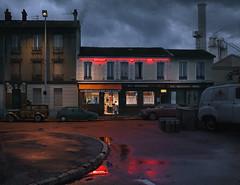 Au rendez-vous des chauffeurs. Gennevilliers. (blaisearnold.net) Tags: paris rain bar restaurant hotel factory cloudy trucker pluie nuage bistrot chauffeurs gennevilliers