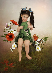 Little girl with butterflies (noor.khan.alam) Tags: flowers nature girl beauty smile face look field grass childhood animals daisies hair children kid colorful long child little butterflies vivid insects delight stump armenia poppies emotions admiration