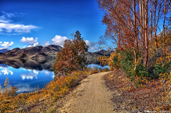 The Autumn pathway (Kevin_Jeffries) Tags: blue autumn newzealand sky cloud mountain lake color colour reflection tree nature water beautiful beauty interesting bush nikon colorful track path canterbury lakeside walkway serene pathway benmore d90