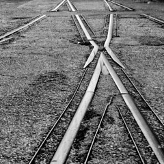 Run Out On The Rails (jcurtis4082) Tags: railroad blackandwhite bw square spur state steel rail olympus frog bellingham wa em1 squalicum 40150mm