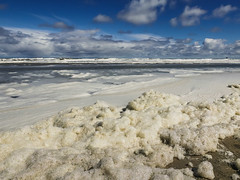 (117/366) Schuimig strand Ameland (144/365) (MJ Klaver) Tags: sea beach wadden nederland shore foam photoaday ameland kust project365 project366 lx100 day117366 366the2016edition 3662016 26apr16