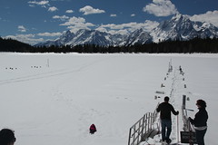 Jovie sledding onto the frozen lake (Aggiewelshes) Tags: travel winter snow jessie april billy snowshoeing wyoming sled jacksonhole colterbay jovie grandtetonnationalpark 2016 gtnp