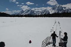 Jovie sledding onto the frozen lake (Aggiewelshes) Tags: travel winter snow jessie april billy snowshoeing wyoming sled jacksonhole colterbay jovie grandtetonnationalpark 2016 gtnp