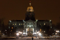 The Colorado State Capitol on Christmas Night