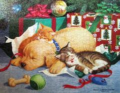 Too Much Fun (Persis Clayton Weirs) (Leonisha) Tags: christmas dog cat weihnachten kittens puzzle sleepy weihnacht jigsawpuzzle ktzchen schlaf persisclaytonweirs