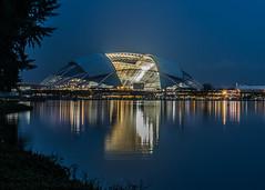 Singapore   |   Spaceship (JB_1984) Tags: nationalstadium stadium singaporesportshub water reflection bluehour symmetry promenade marinapromenade kallang singapore nikon d7100 nikond7100 explore explored