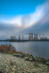 Atoms (photogo.pl) Tags: sky lake water clouds river landscape vent energy powerstation atom