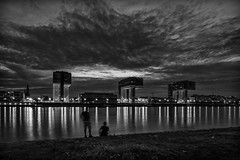 Kranhäuser (gambajo) Tags: blackandwhite reflection water architecture night clouds river germany dark blackwhite cologne köln rhein skyporn kranhäuser