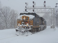 CSX 5272 and 5429 (Trains & Trails) Tags: railroad winter cold train diesel pennsylvania snowstorm january engine signals transportation locomotive snowing ge blizzard noreaster generalelectric helper gantry csx fayettecounty 2016 connellsville gevo 5272 5249 darkfuture es40dc yn3 widecab safetran