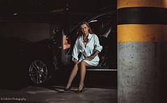 Underground (salas-3) Tags: light woman black sexy beautiful beauty car yellow pose dark underground amazing model nikon darkness garage bmw nikkor lowkey softbox x3