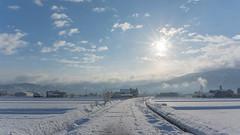 "In the ""2016 Asahi of February 7,""In Toyama Prefecture Nanto somewhere in Japan (daitikaworu) Tags: wood winter sky cloud sun mountain snow japan sunrise landscape sony bluesky  snowfield toyama        morningsun    snowmountain nanto inami     nex6"