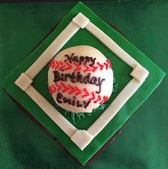 Baseball cake by Kathy, Santa Cruz, CA, www.birthdaycakes4free