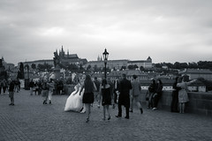 Czech Mate, Bride on the St. Charles Bridge, Karlv Most, Prague, Czech Republic (Kris McNeil) Tags: bridge wedding st river bride republic dress czech prague charles most vltava karlv