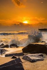 Sunrise at the pier (Ranjith Mehenderkar) Tags: sunrise pondicherry beachsunrise orangeskies pondicherrybeach