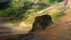 Plugged In (Dru!) Tags: orange canada green volcano bc hiking britishcolumbia meadow hike alpine scree plug volcanic bellacoola tweedsmuir talus rainbowrange tweedsmuirprovincialpark anahimlake