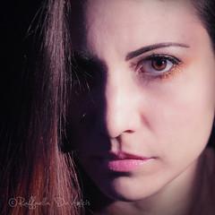 Self Portrait 1 (RaffaLUCE) Tags: portrait woman selfportrait shadows 11 squareformat browneyes chiaroscuro pinklips hardlight portraitofawoman fujilens mirrorlesscamera fujixt1