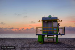 Waiting II (Tim Azar) Tags: ocean morning orange men beach water architecture clouds sunrise landscape sand waiting waves florida miami shoreline guys miamibeach southbeach hdr lifeguardtower canon6d timazar