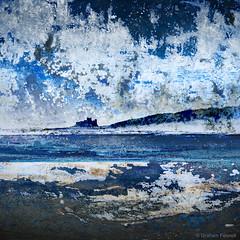 Painted Seacape (G V Fennell) Tags: sea clouds photoshop painting rocks paint creative textures montage watercolour seacape bamburghcastle