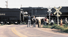Union Pacific FEF-3 class 4-8-4 Northern steam locomotive # 8444, is seen while passing through a grade crossing with rail fan excursion train on a main line, as numerous observers watch in Colorado, July 26, 1980 (alcomike43) Tags: road street old color classic up modern vintage photo colorado tracks trains historic negative photograph engines rails unionpacific northern steamengine locomotives railroads rightofway steamlocomotive 484 alco mainline oilburner passengertrains crossbucks gradecrossing 8444 railfanexcursiontrains fef3class railroadwarningflasherlights