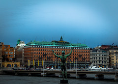 Grand Hotel (fredrik.gattan) Tags: city bridge sky seascape statue landscape hotel cityscape sweden stockholm grand