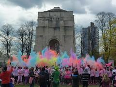Colour Blast Dash 2016 Leicester (KiranParmar) Tags: charity cloud color colour monument happy victoriapark hand leicester dash april burst holi blast monumnet 2016