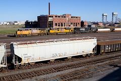 Just Passin' Through (Ryan J Gaynor) Tags: railroad bridge newyork up yard america train buffalo factory ns traintracks railway trains transportation unionpacific railfan freighttrain norfolksouthern railroading intermodal