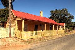 Yellow Pickets (Darren Schiller) Tags: old red house building history yellow architecture fence cottage newsouthwales pickets sofala