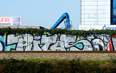 Graffiti (oerendhard1) Tags: urban streetart art graffiti rotterdam ominous chrome vandalism traintrack putas omin
