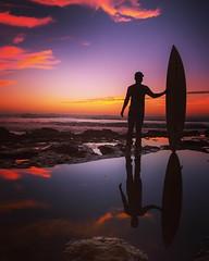 surfs up brah (traycg1) Tags: sunset clouds reflections surf sandiego surfboard sunsetcliffs