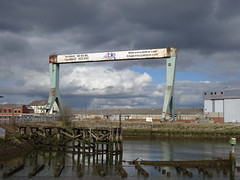 Advertising Crane? (Munki Munki) Tags: docks reflections advertising crane stormysky able rivertees middlehavendock