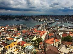 Looking Over Istanbul, Turkey (` Toshio ') Tags: city bridge clouds turkey river cityscape istanbul bluemosque hagiasophia bosphorus galata iphone constantinople goldenhorn toshio galatatower