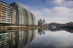 Mill pond dock, Salford Quays, Manchester UK (Dave J White) Tags: bridge water architecture manchester dock sony salfordquays salford manchestershipcanal a7r