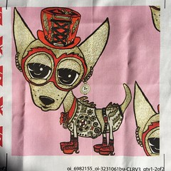 Steampunk Chihuahua Pink, large scale, 8x8 inch test swatch on basic cotton ultra. (sassyone2013) Tags: dog pets chihuahua cute dogs sewing crafts chihuahuas quilting crafting giftwrap whimsical yardage steampunk wrappingpaper spoonflowerindiefabricdesigns
